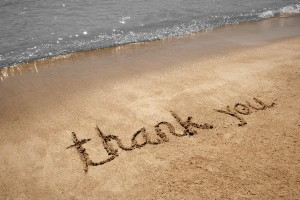 thank you on beach